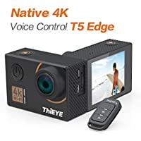 ThiEYE T5 Edge 4K Action Camera Wifi Waterproof Sport Video Camera 14MP Ultra-HD 2 IPS Screen with EIS, APP & Voice Control with Remote Control, 170 Wide Angle, Battery and Full Accessories