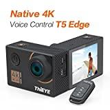 ThiEYE T5 Edge Native 4K Action Camera WiFi Waterproof Sport Video Camera 20MP Ultra-HD 2'' IPS Screen with EIS, APP & Voice Control with Remote Control, 170 Wide Angle, Battery and Full Accessories