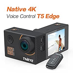 """ThiEYE T5 Edge 4K Action Camera Wifi Waterproof Sport Video Camera 14MP Ultra-HD 2"""" IPS Screen with EIS, APP & Voice Control with Remote Control, 170 Wide Angle, Battery and Full Accessories"""