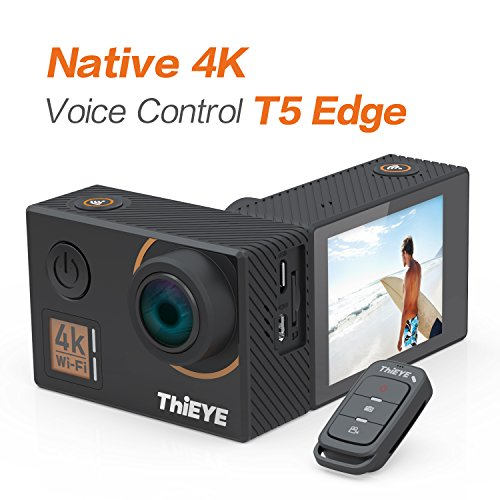 ThiEYE T5 Edge 4K Action Camera Wifi Waterproof Sport Video Camera 14MP Ultra-HD 2'' IPS Screen with EIS, APP & Voice Control with Remote Control, 170 Wide Angle, Battery and Full Accessories by ThiEYE