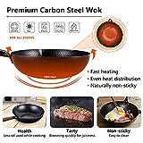 "Wok Pan with Lid & Spatula, 12.5"" Carbon Steel Wok"