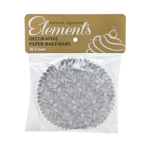 Hanna K. Signature 36 Count Elements Self-Standing Baking Cups, 3'', Silver by Hanna K Signature