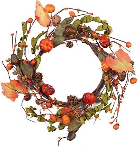 "CY094 Fall Primitive Pumpkin Berries Garland in Orange and Green 54/"""