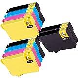 10 Inkfirst® 220XL 220XL Ink Cartridges T220XL1, T220XL2, T220XL3, T220XL4 Compatible Remanufactured for Epson 220XL Black, 220XL Cyan, 220XL Magenta, 220XL Yellow (High Capacity) (2 Set + 2 Black) Expression XP420 XP424 XP-320 WorkForce WF-2630 WF-2650 WF-2660