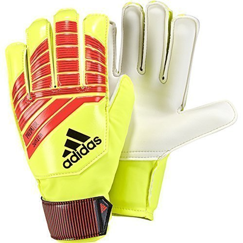 Gloves Athletic Adidas (adidas Predator Junior Soccer Gloves, Solar Red/Solar Yellow/Black, Size 6)