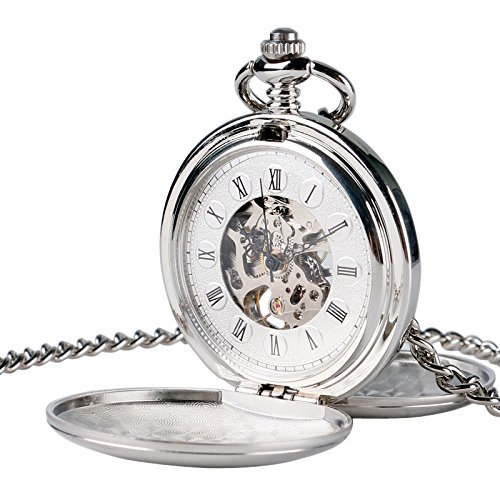 Retro Half Hunter Skeleton Mechanical Roman Numerals Pocket Watch with Thick Chain Gift