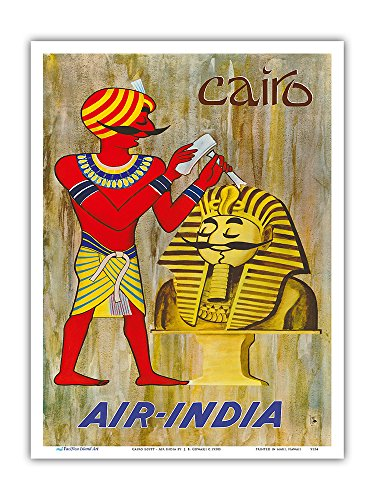 Pacifica Island Art Cairo Egypt - Maharaja as Sphinx Statue - Air India - Vintage Airline Travel Poster by J. B. Cowasji c.1950s - Master Art Print - 9in x 12in