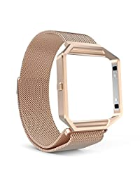 Fitbit Blaze Accessories Band, MoKo Metal Frame Housing + Milanese Loop Mesh Stainless Steel Bracelet Strap Band with Magnet Lock for Fitbit Blaze Smart Fitness Watch - Rose GOLD