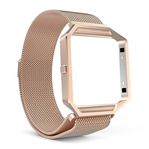 MoKo Stainless Steel Frame with Milanese Loop Strap for Fitbit Blaze Watches
