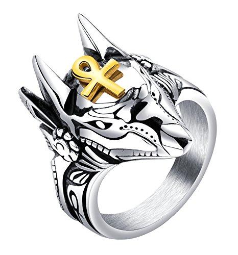 Rinspyre Men's Stainless Steel Egyptian God Anubis Gold Ankh Cross Ring Biker Band Size 11 (Egyptian Ring)