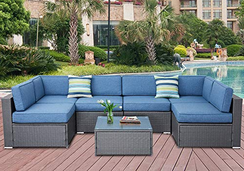 SOLAURA Outdoor Furniture Set 7-Piece Wicker Furniture Modular Sectional Sofa Set Gray Wicker Olefin Fiber Soft Denim Blue Cushions with YKK Zipper &Coffee Table with Waterproof Cover ()