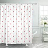 Pink and Purple Polka Dot Shower Curtain Emvency Fabric Shower Curtain with Hooks Abstract Pink Polka Dots Pattern Color Diagonal Geometric Gingham Light Modern Pastel 60