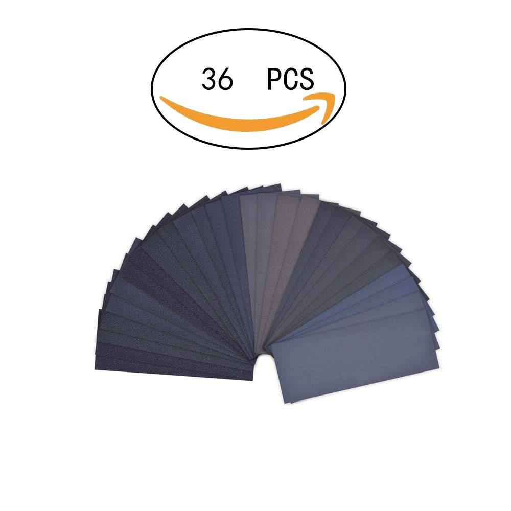36Pieces Sandpaper Assortment 400 to 3000 Grit Wet Dry Fine Sand Paper Assortment for Automotive Sanding Car Painting Wood Furniture Finishing