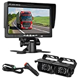 ZSMJ Backup Camera 7″ Display Monitor Kit 2 Cameras for School Bus/Trailer/RV/Truck/Van/Pick up Rear View Camera Single Power System IP68 Waterproof Night Vision Driving/Reversing Camera Review
