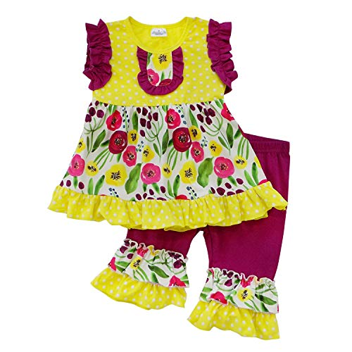 So Sydney Girls Toddler 2-4 Pc Novelty Spring Summer Top Capri Set Accessories (7 (XXL), Yellow Poppy Ruffle) -