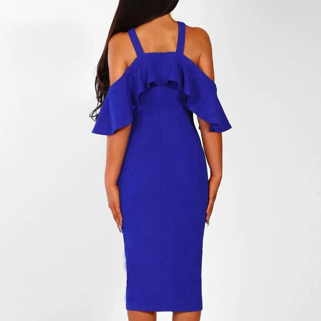 PASATO Women Ruffles Cross Off Shoulder Dress Evening Party Dress Sundress Warm Party Night Out Pencil Midi Dress