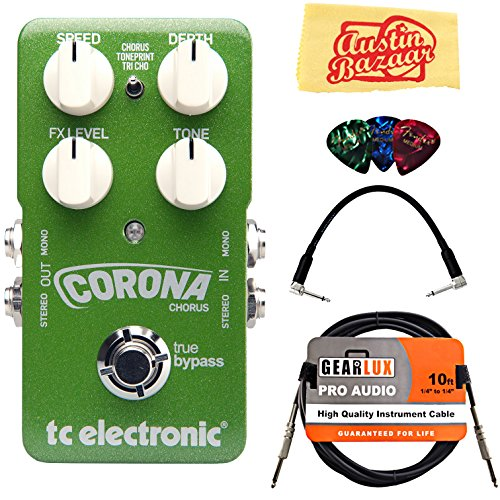 TC Electronic Corona Chorus Guitar Effects Pedal Bundle with Gearlux Instrument Cable, Patch Cable, Picks, and Polishing Cloth (Chorus Tc Electronics)