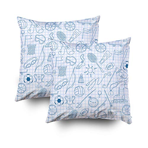 Mission Lounger (Crannel Double-Sided Printing Pillowcase 18X18 Inch 2PCS Throwing Cushion Pattern The Theme Summer Sports Simple Blue Contour Icons Clean Sheet in Cage a Invisible Zipper Square Decorative Home Sofa)