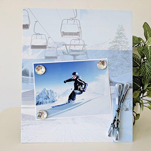 Ski Lift - Snow Winter Sports Vacation Travel Trip Getaway Magnetic Picture Frame Handmade Friend Dad Brother Gift Present Home Decor Size 9 x 11 Holds 5 x 7 Photo