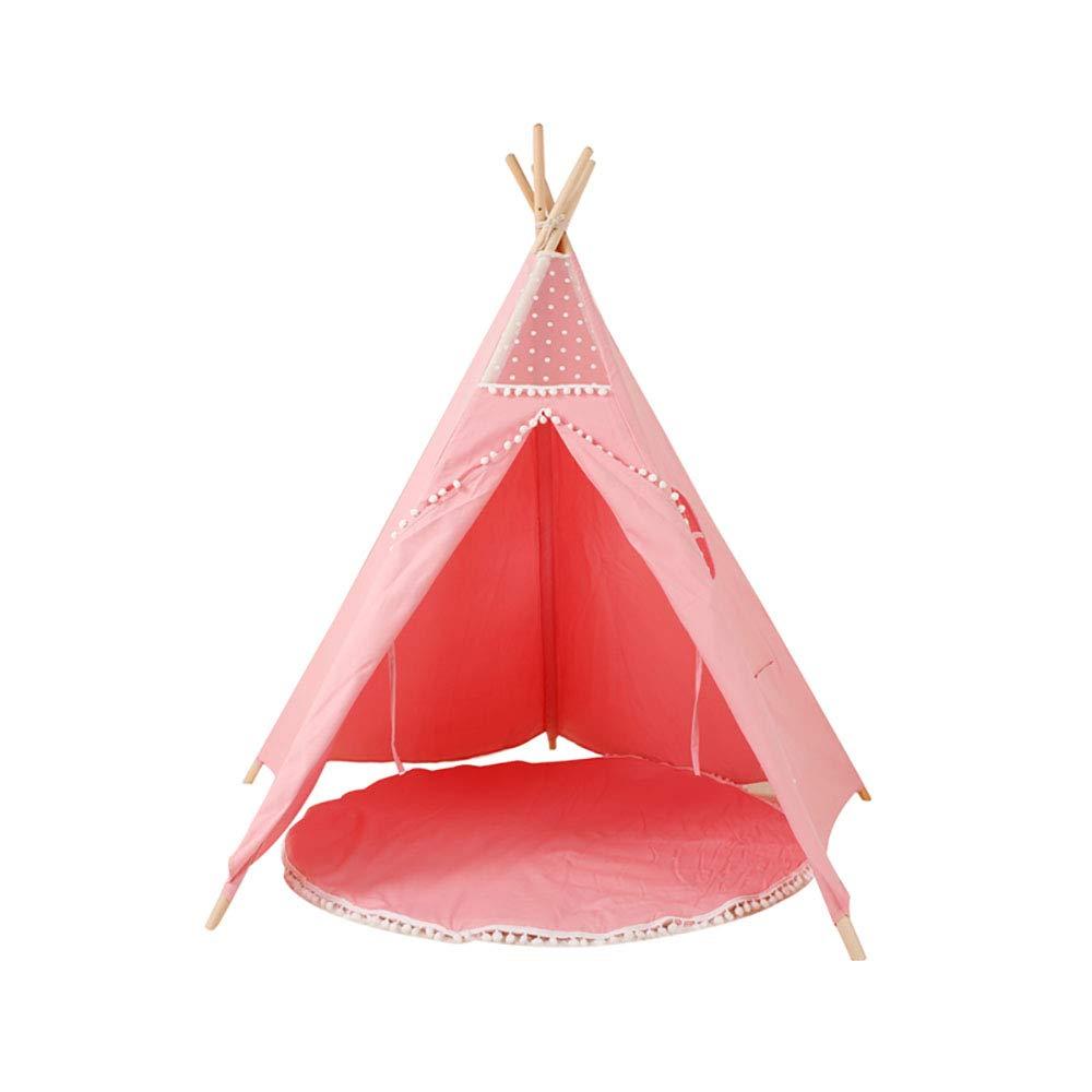 円錐キッズテント、4/5純粋なパインキャンバス男の子と女の子ユニバーサルおもちゃゲームプレイテントハウスキッズルームの装飾 B07RKWWGPH pink 2 100*100*150cm
