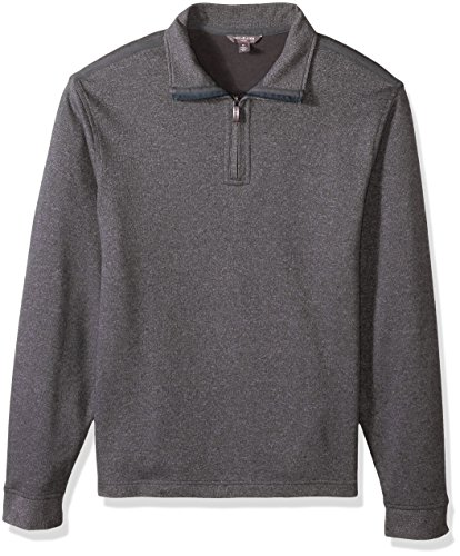 Van Heusen Men's Long Sleeve Spectator Solid 1/4 Zip Shirt, Grey Cirrus, - Van Zipper