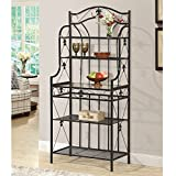 JaxTerrific Charming Baker's Rack, 5 Open Shelves for Ample Storage and Display Space, Sturdy and Long Lasting Metal Frame Construction, Glass Countertop, Artful Design, Durable, Rich Black Finish