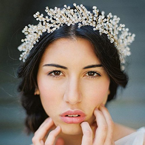 Yean Gold Wedding Headband, Wedding Crown, Bridal Wedding Tiara for Women and Girls