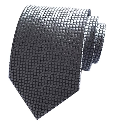 Diamond Patterned Silk Tie - Elfeves Men's Grey Silver Gingham Plaid Ties Business Slim Self Meeting Neckties