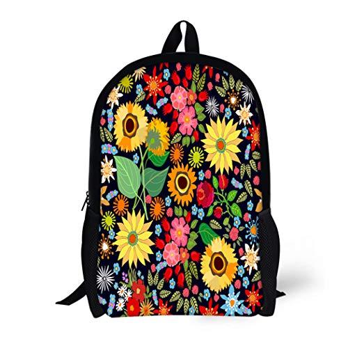 (Pinbeam Backpack Travel Daypack October Sunflower Field Pattern Asters Chrysanthemums Roses Wildflowers Waterproof School Bag )