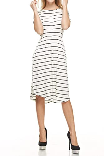 Iconic Luxe Women's Short Sleeve Flare Midi Dress with Pockets in Solid and Striped