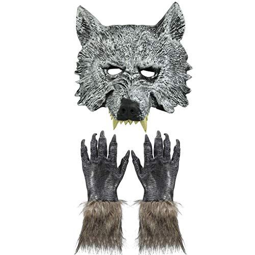 Halloween Wolf Masks Latex Werewolf Mask Gloves Hands Adults Kids Scary Cosplay Horror Nights Party Masquerade Costume Props