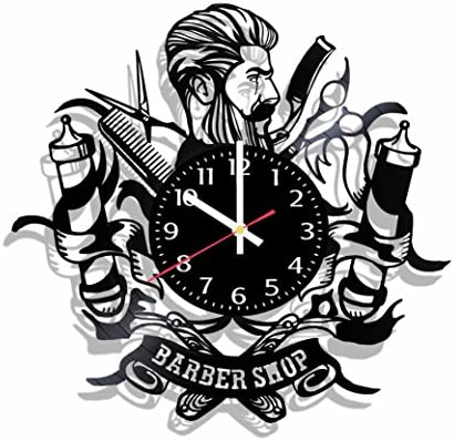 Art Vintage Barbershop Wall Clock Made from Real Vinyl Record