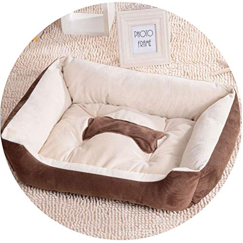 Full Cotton Dog Bed Sofa Lounger Cat House Product for Small Medium Large Pet Dog Basket Bed Various Sizes Puppy Warm Kennel Mat,Brown,XS ()