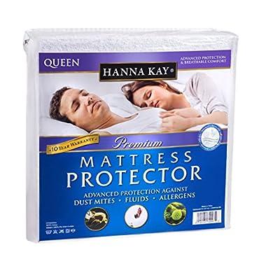 Hanna Kay Premium 100% Waterproof Mattress Protector ,Hypoallergenic - 10 Year Warranty Queens Size