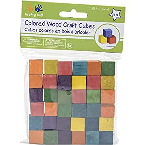 "Craftwood Wooden Cubes 5/8"" 36/Pkg-Colored"