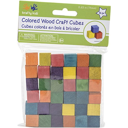 Craftwood Wooden Cubes 5/8 36/Pkg-Colored
