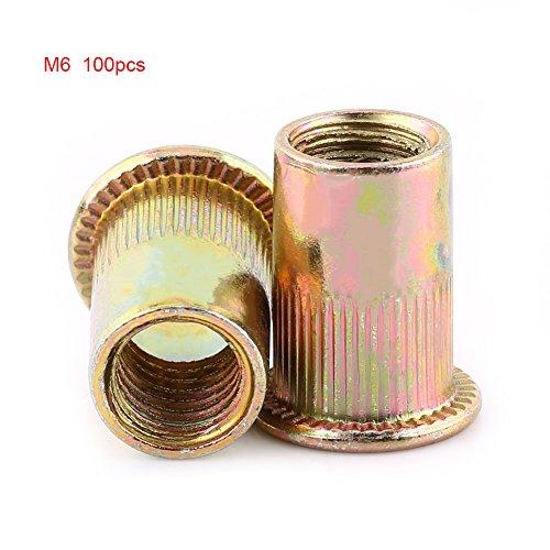 (Carbon Steel Rivet Nut Flat Threaded Flange Rivnut Nutsert Fastener M3-M12 (M6 100 Set/Bag))