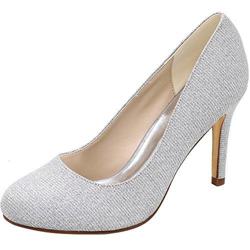 Loslandifen Women's Wedding Pumps Round Toe Satin High Heels Dress Bridal Shoes (5623-01Cxishan35,Silver Glitter) - Round Toe Satin Pumps