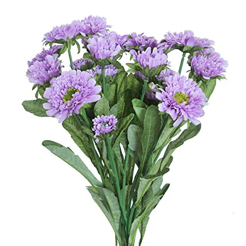 Purple Daisy Flower (JUYO VONSAN 3pcs Artificial Flowers artificial Chrysanthemum daisy flowers Bouquet Arrangements Fake Plant Home Garden Dining Table Wedding Christmas Party Cemetery Centerpiece Decor (Purple))