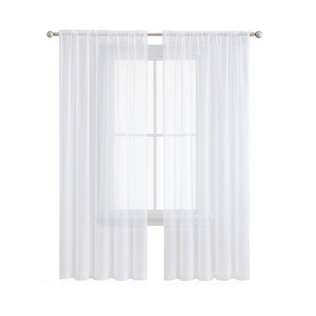 Anjee 2 Panels White Sheer Curtains 45 Inches Long, Rod Pocket Window Treatment Sheer Voile Drapes for Bedroom, Living Room, Kitchen, W54 x L45 Inch