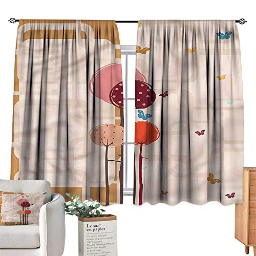 (Mannwarehouse Noise Reduction Curtain Retro Colorful Trees Butterfly W72 xL45 Suitable for Bedroom,Living,Room,Study,etc.)