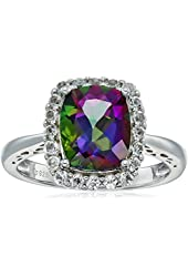 Sterling Silver Cushion Mystic Topaz and White Topaz Halo Ring, Size 7