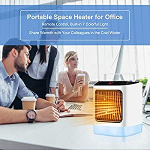 Electric Space Heater Portable Indoor 1000W/800W Small Ceramic Heaters For Office Use,Desktop,Bathroom,with Remote Control,Adjustable Thermostat,7 Color LED Light and Timing Function