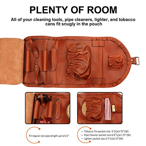 Firedog Pipe Tobacco Pouch, Smoking Pipe Bag Holder Leather Travel Roll up Vintage Case for 2 Pipes Accessories by firedog (Image #2)