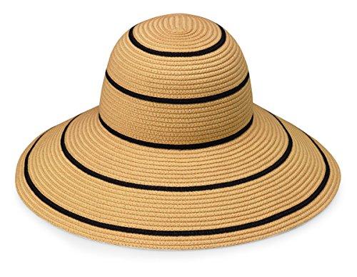 Wallaroo Women's Savannah Sun Hat - UPF 50+ - Packable, Camel/Black Stripes