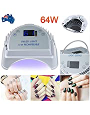 Vinteky 64W Rechargeable Pro LED Gel Nail Dryer UV LED Nail Lamp Light Curing Lamp With Lifting Handle Touch Sensor LCD Screen Timer Setting for Gels Nail Polish 222 * 238 * 92mm