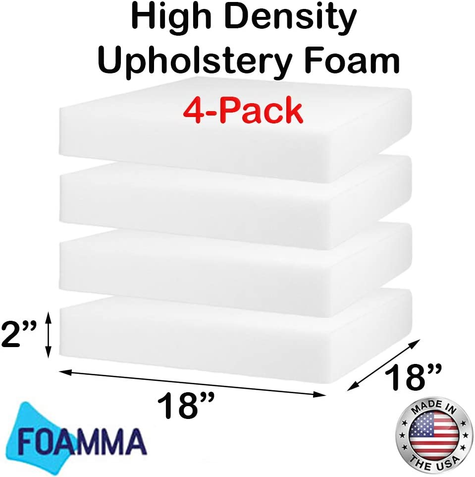 "FOAMMA (4-Pack) 2"" x 18"" x 18"" HD Upholstery Foam High Density Foam (Chair Cushion Square Foam for Dinning Chairs, Wheelchair Seat Cushion Replacement)"