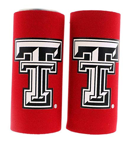 NCAA College Ultra Slim Beer Can Holder Cooler 2-Pack (Texas Tech Red Raiders) ()
