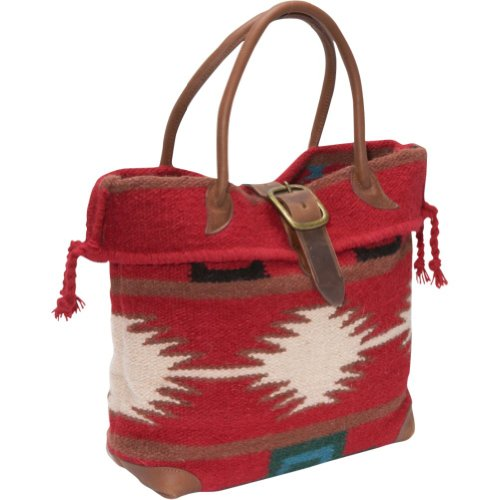 Amerileather Red Wool-blend Roamer Tote Bag 600-5