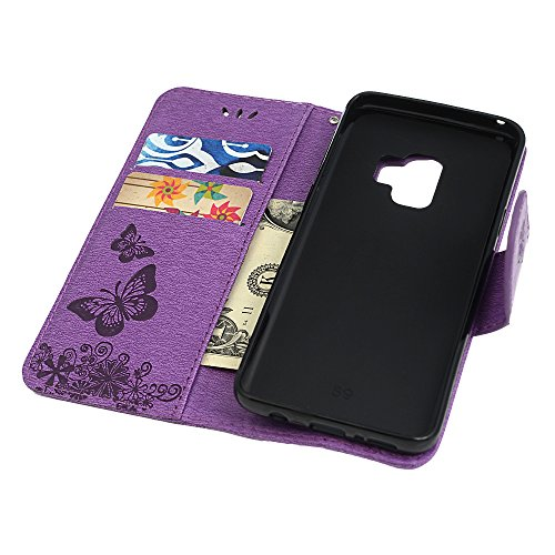 S9 Case, Galaxy S9 Wallet Case, YOKIRIN Luxury 3D Handmade Crystal Rhinestone Case Embossed Double Bling Butterfly PU Leather with Wrist Strap Stand Credit Card ID Holders & Stylus Dust Plug, Purple by YOKIRIN (Image #5)